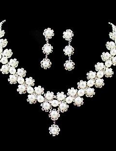 underbara rhinestone / oäkta pärla brudkläder smycken set - 17 tums halsband med örhängen
