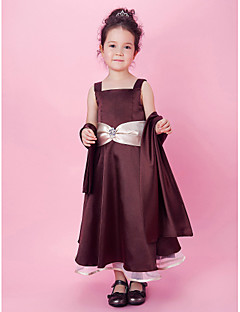 A-line/Princess Tea-length Flower Girl Dress - Organza/Stretch Satin Sleeveless