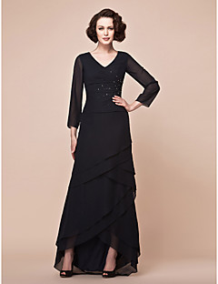Lanting A-line Plus Sizes / Petite Mother of the Bride Dress - Black Asymmetrical 3/4 Length Sleeve Chiffon