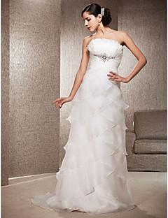 gaine de mariée lanting / colonne petite / tailles plus robe de mariée-cour de train bretelles