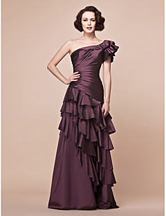 A-line Plus Sizes / Petite Mother of the Bride Dress - Grape Floor-length Short Sleeve Taffeta