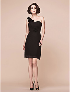 Lanting Sheath/Column Plus Sizes / Petite Mother of the Bride Dress - Black Short/Mini Sleeveless Chiffon
