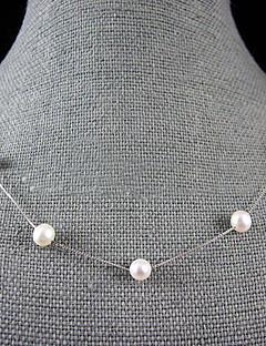 7-8mm naturliga sötvatten pärla halsband med silver kedja - 18 tum (fler färger)