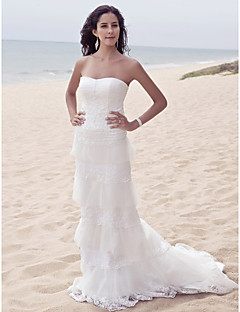 Lanting Bride Sheath/Column Petite / Plus Sizes Wedding Dress-Sweep/Brush Train Sweetheart Satin / Tulle