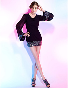 TS Couture® Cocktail Party Dress - Little Black Dress Plus Size / Petite Sheath / Column V-neck Short / Mini Chiffon / Sequined with Sequins
