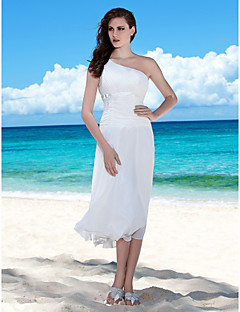 Lanting Bride® Sheath / Column Petite / Plus Sizes Wedding Dress - Chic & Modern / Reception Spring 2013 Tea-length One Shoulder Chiffon