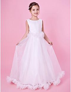 A-line / Princess Floor-length Flower Girl Dress - Organza / Satin Sleeveless Jewel with Ruffles
