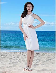 lanting 신부 시스 / 아담 열 / 플러스 웨딩 드레스 무릎 길이의 보석 쉬폰 크기