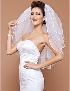 Wedding Veil Three-tier Elbow Veils Pencil Edge / Pearl Trim Edge 31.5 in (80cm) Tulle White / IvoryA-line, Ball Gown, Princess, Sheath/