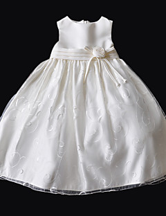 Princess/A-line Knee-length Flower Girl Dress - Taffeta/Cotton/Tulle Sleeveless
