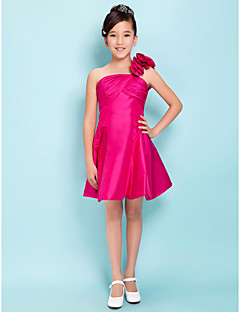Knee-length Taffeta Junior Bridesmaid Dress - Fuchsia A-line / Princess One Shoulder