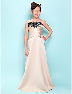 Lanting Bride® Floor-length Satin Junior Bridesmaid Dress A-line / Princess Spaghetti Straps / Scalloped Natural with Lace / Criss Cross
