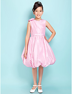 Knee-length Taffeta Junior Bridesmaid Dress Ball Gown V-neck Natural with Flower(s) / Sash / Ribbon / Side Draping