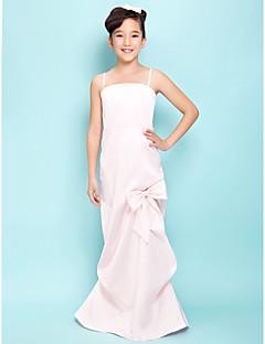 Floor-length Satin Junior Bridesmaid Dress - Blushing Pink Sheath/Column/A-line Spaghetti Straps/Square