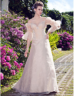 Lan Ting A-line/Princess Plus Sizes Wedding Dress - Champagne Floor-length Off-the-shoulder Organza