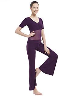ריקוד בטן תלבושות בגדי ריקוד נשים אימון כותנת קריסטל 2 חלקים שרוול קצר נפול עליון / מכנסיים