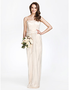 LAN TING BRIDE Floor-length Strapless Bridesmaid Dress - Furcal Sleeveless Tulle Charmeuse