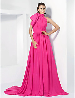 TS Couture® Formal Evening Dress - Fuchsia Plus Sizes / Petite A-line / Princess High Neck Court Train Chiffon