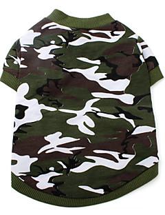 犬(XS-L、緑)のスタイルコットンシャツをカモフラージュ