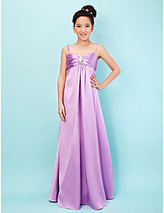 Lanting Bride® Floor-length Stretch Satin Junior Bridesmaid Dress A-line / Princess Sweetheart / Spaghetti Straps Empire withCrystal