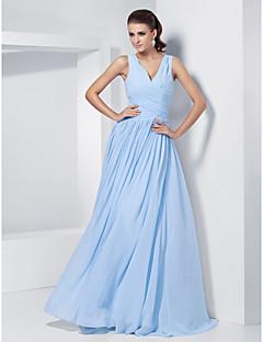 TS Couture® Formal Evening / Prom / Military Ball Dress - Sky Blue Plus Sizes / Petite A-line / Princess V-neck Floor-length Chiffon