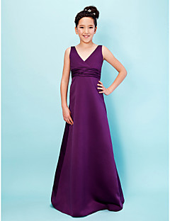 Lanting Bride® Floor-length Satin Junior Bridesmaid Dress A-line / Princess V-neck Empire with Sash / Ribbon / Ruching