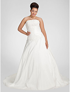 Lanting Bride A-line Petite / Plus Sizes Wedding Dress-Chapel Train Strapless Taffeta
