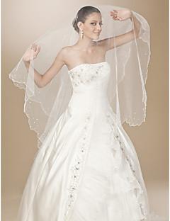 à un seul niveau en tulle perlé bord garniture valse de mariage longueur voile de perles