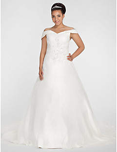 A-line / Ball Gown Apple / Hourglass / Inverted Triangle / Misses / Pear / Plus Sizes / Rectangle Wedding Dress-Chapel Train