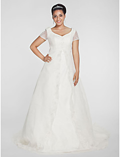 Lanting Bride® A-line / Princess Petite / Plus Sizes Wedding Dress - Classic & Timeless Chapel Train V-neck Organza