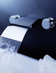 Současné Nástěnná montáž Vodopád with  Keramický ventil Dvěma uchy tři otvory for  Pochromovaný , Koupelna Umyvadlová baterie