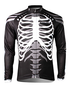 SPAKCT Bike/Cycling Jersey / Tops Men's Long Sleeve Breathable / Ultraviolet Resistant / Quick Dry / Thermal / Warm 100% Polyester Skulls