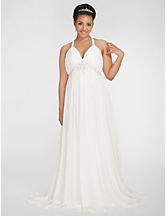 Lanting Bride Sheath/Column Petite / Plus Sizes Wedding Dress-Sweep/Brush Train V-neck Chiffon
