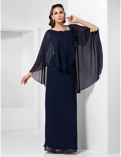 TS Couture Formal Evening / Military Ball / Wedding Party Dress - Dark Navy Plus Sizes / Petite Sheath/Column Scoop Floor-length Chiffon