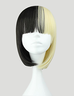 Lolita Wigs Punk Lolita Color Gradient Short White / Black Lolita Wig 35 CM Cosplay Wigs Color Block Wig For Women