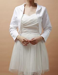 כורכת חתונה מעילים / מעילים שרוול ארוך סאטן לבן מסיבה / ערב פתח חזית