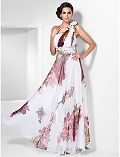 ערב / שמלה לנשף נדן / טור כתף אחת באורך רצפת שיפון
