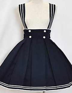 Knelang Ink Blue Cotton Sailor Lolita skjørt