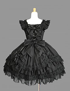 Sleeveless Knielanger Black Cotton Gothic Lolita Kleid