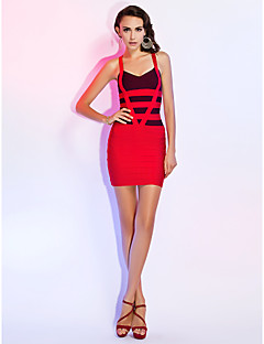 Cocktail Party / Holiday Dress Sheath / Column Sweetheart Short / Mini Rayon with Bandage