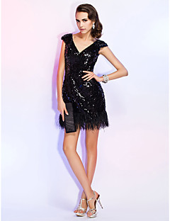 Homecoming Cocktail Party/Homecoming/Holiday/Wedding Party Dress - Black Plus Sizes Sheath/Column V-neck Short/Mini Sequined