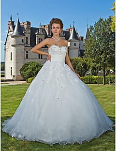 Lanting Bride® Ball Gown Petite / Plus Sizes Wedding Dress - Classic & Timeless Fall 2013 Chapel Train Sweetheart Organza with