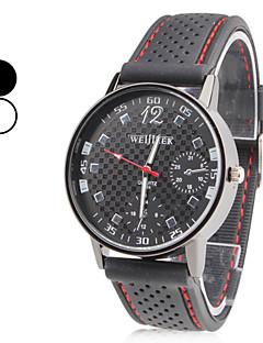 Herren Armbanduhr Japanisch Quartz Silikon Band Schwarz Weiß Schwarz