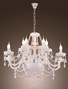 Lámpara Chandelier de Cristal con 12 Bombillas - DRAPER