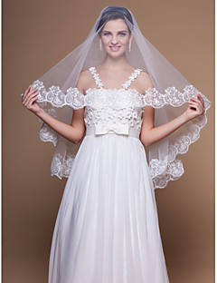 Wedding Veil One-tier Elbow Veils Lace Applique Edge 59.06 in (150cm) Tulle White / IvoryA-line, Ball Gown, Princess, Sheath/ Column,