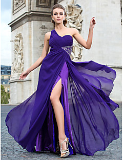 Formal Evening / Military Ball Dress - Plus Size / Petite Sheath/Column One Shoulder Floor-length / Watteau Train Chiffon