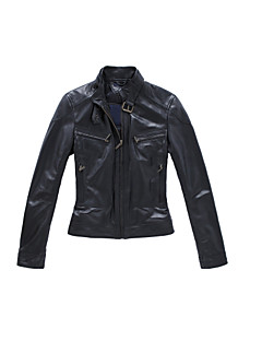 Long Sleeve Standing Collar Office/Casual Lambskin Leather Jacket