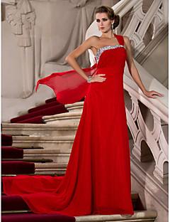 저녁 정장파티/밀리터리 볼 드레스 - 루비 시스/컬럼 쿼트 트레인 원 숄더 쉬폰 플러스 사이즈
