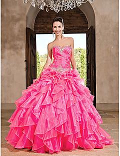 주름과 볼 가운 애인 바닥 길이 organza 드레스