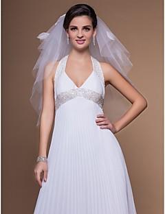 Gorgeous 4 Layers Elbow Wedding Veil With Cut Edge